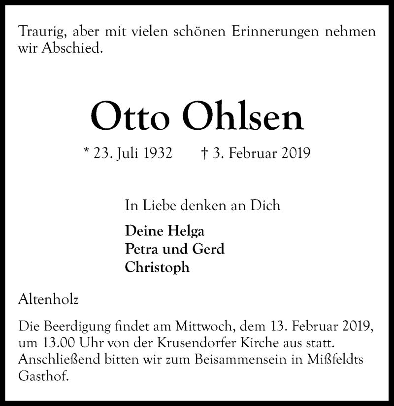 Traueranzeige für Otto Ohlsen vom 09.02.2019 aus Kieler Nachrichten