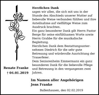 Traueranzeige für Renate Franke vom 02.02.2019 aus