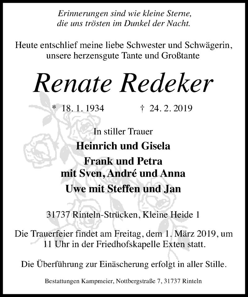 Traueranzeige für Renate Redeker vom 27.02.2019 aus