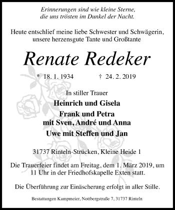 Traueranzeige für Renate Redeker vom 27.02.2019 aus Schaumburger Nachrichten