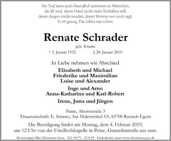 Traueranzeige für Renate Schrader vom 02.02.2019 aus Peiner Allgemeine Zeitung