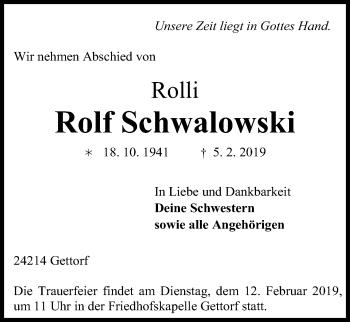 Traueranzeige für Rolf Schwalowski vom 09.02.2019 aus Kieler Nachrichten