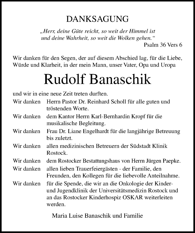 Traueranzeige für Rudolf Banaschik vom 02.02.2019 aus Ostsee-Zeitung GmbH