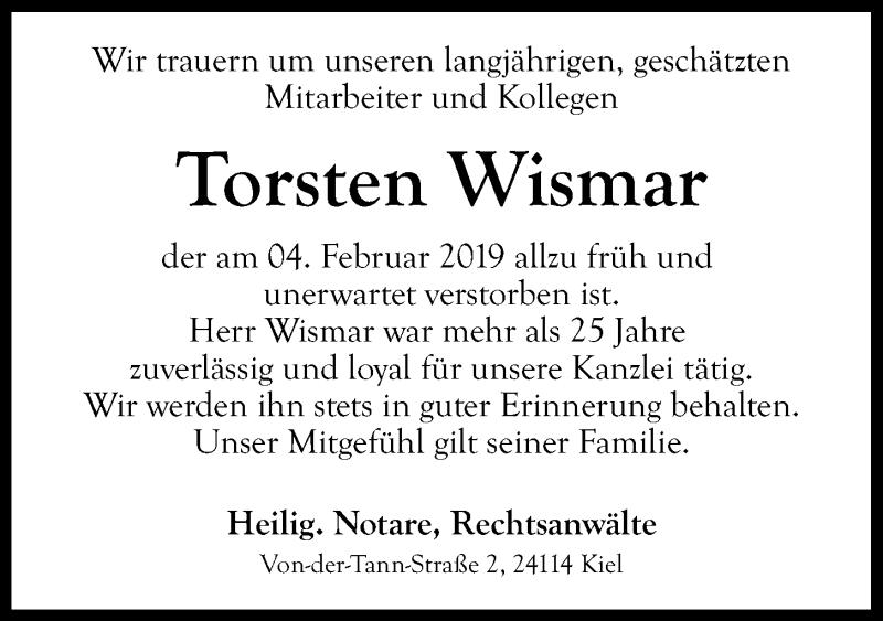 Traueranzeige für Torsten Wismar vom 09.02.2019 aus Kieler Nachrichten
