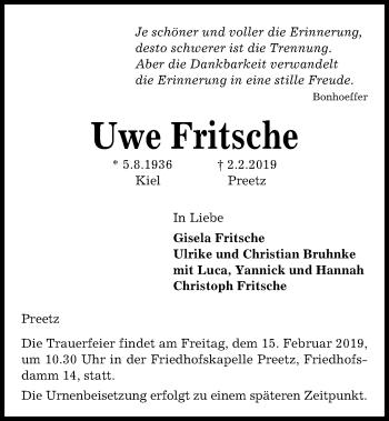Traueranzeige für Uwe Fritsche vom 09.02.2019 aus Kieler Nachrichten