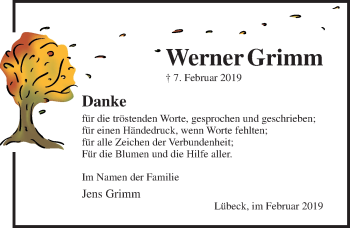 Traueranzeige für Werner Grimm vom 24.02.2019 aus Lübecker Nachrichten