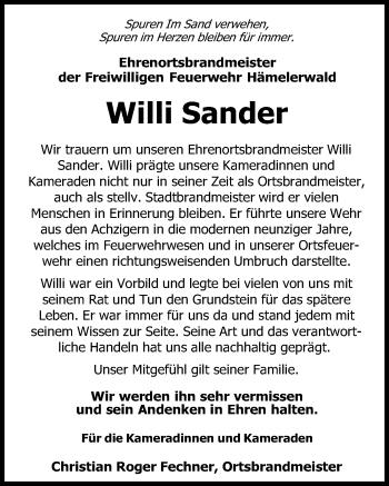 Traueranzeige für Willi Sander vom 30.01.2019 aus Peiner Allgemeine Zeitung