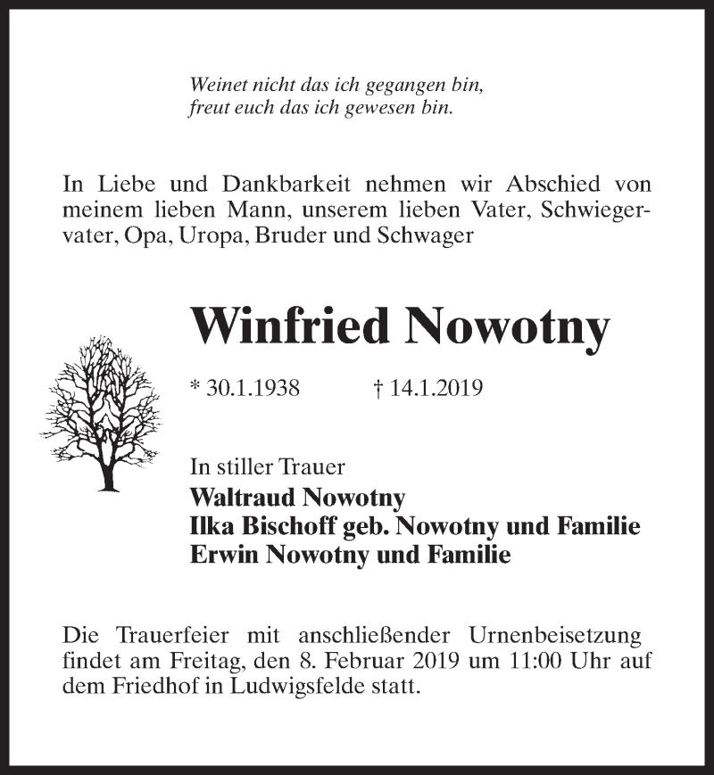 Traueranzeige für Winfried Nowotny vom 05.02.2019 aus Märkischen Allgemeine Zeitung