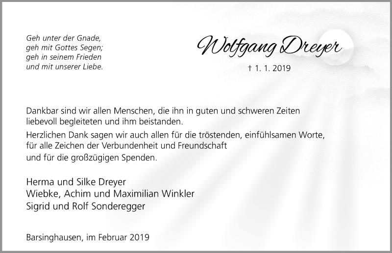 Traueranzeige von  Wolfgang Dreyer