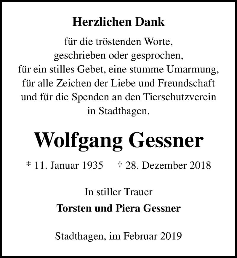 Traueranzeige für Wolfgang Gessner vom 09.02.2019 aus