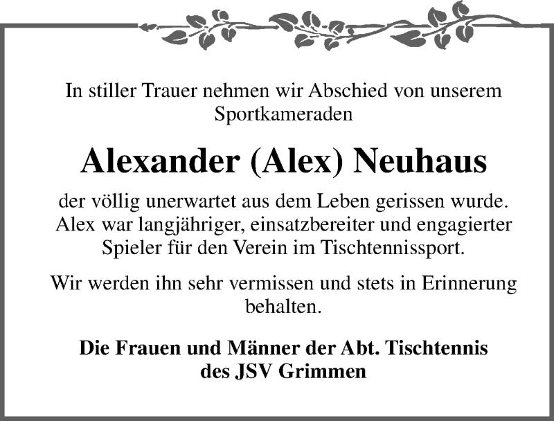 Traueranzeige für Alexander Neuhaus vom 16.03.2019 aus Ostsee-Zeitung GmbH