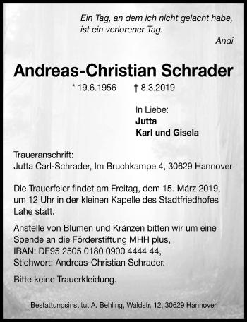 Traueranzeige für Andreas-Christian Schrader vom 12.03.2019 aus Hannoversche Allgemeine Zeitung/Neue Presse