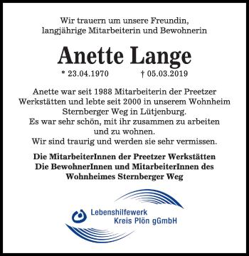 Traueranzeige für Anette Lange vom 15.03.2019 aus Kieler Nachrichten