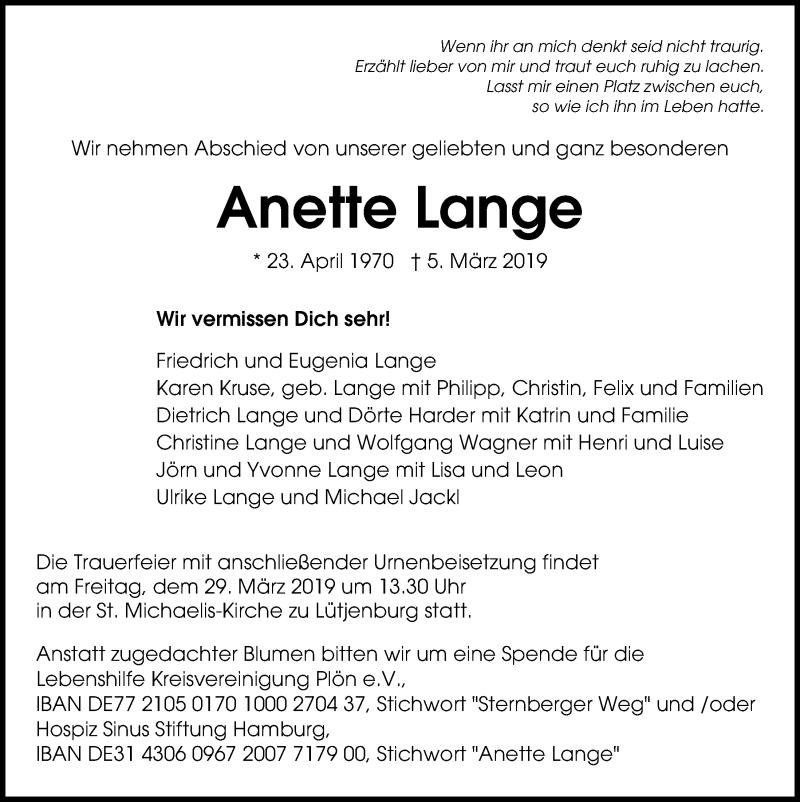 Traueranzeige für Anette Lange vom 16.03.2019 aus Kieler Nachrichten