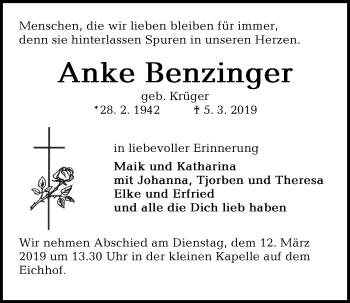 Traueranzeige für Anke Benzinger vom 09.03.2019 aus Kieler Nachrichten