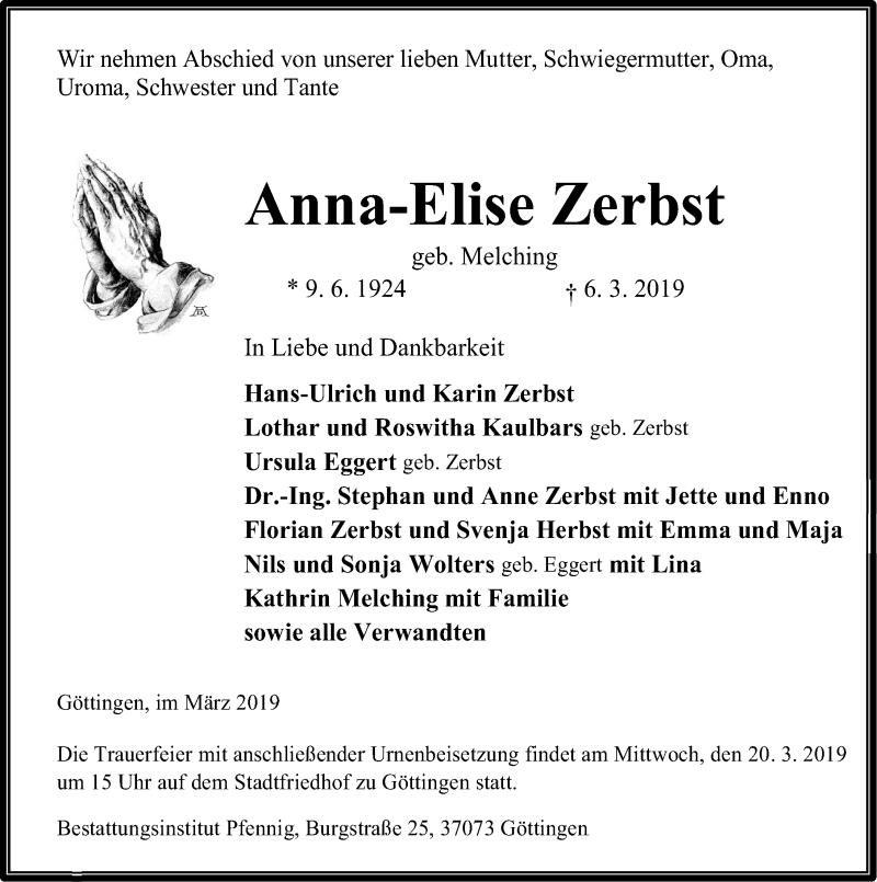 Traueranzeige für Anna-Elise Zerbst vom 09.03.2019 aus Göttinger Tageblatt