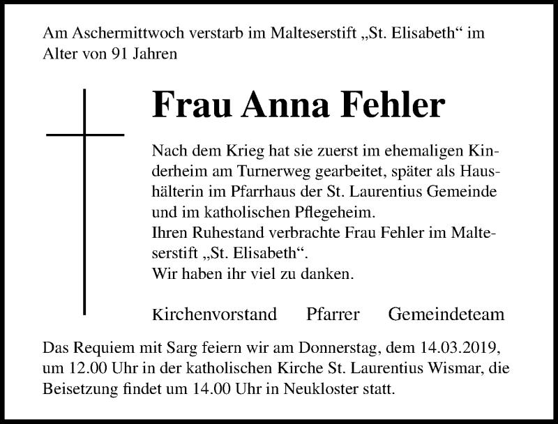 Traueranzeige für Anna Fehler vom 13.03.2019 aus Ostsee-Zeitung GmbH