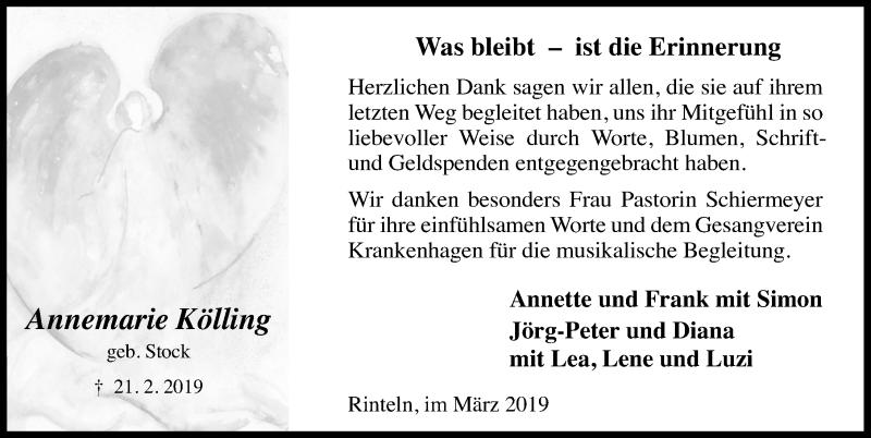 Traueranzeige für Annemarie Kölling vom 16.03.2019 aus Schaumburger Nachrichten