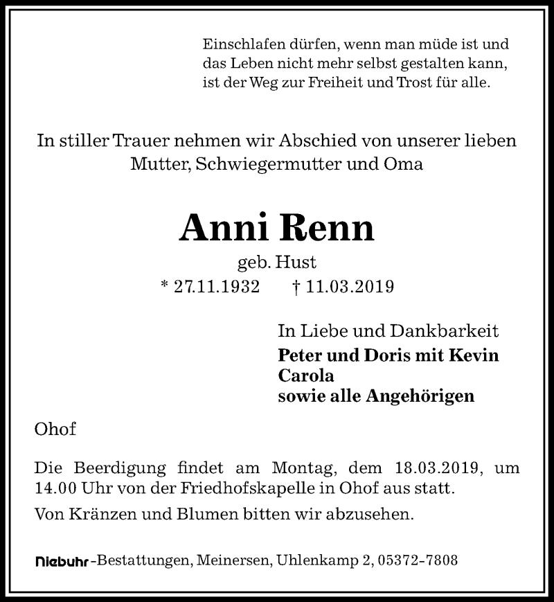 Traueranzeige für Anni Renn vom 14.03.2019 aus Aller Zeitung