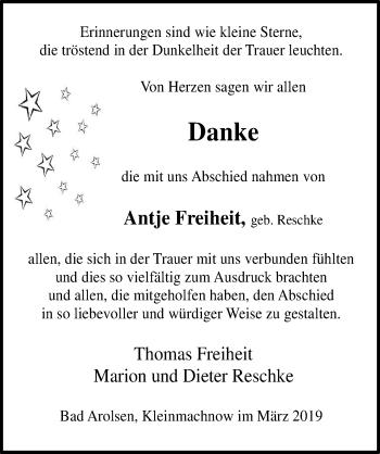 Traueranzeige für Antje Freiheit vom 30.03.2019 aus Märkischen Allgemeine Zeitung