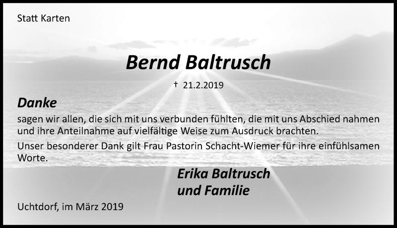 Traueranzeige für Bernd Baltrusch vom 30.03.2019 aus Schaumburger Nachrichten