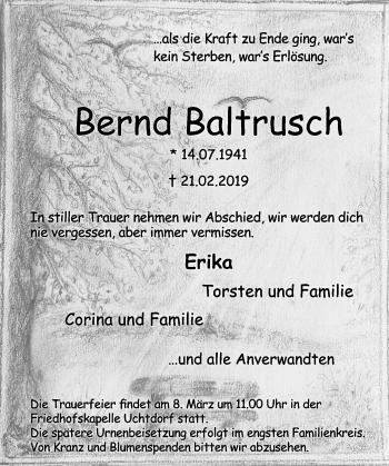 Traueranzeige für Bernd Baltrusch vom 02.03.2019 aus Schaumburger Nachrichten