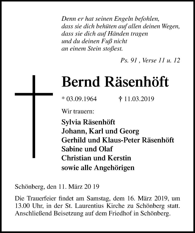 Traueranzeige für Bernd Räsenhöft vom 14.03.2019 aus Ostsee-Zeitung GmbH