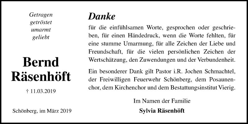 Traueranzeige für Bernd Räsenhöft vom 29.03.2019 aus Ostsee-Zeitung GmbH