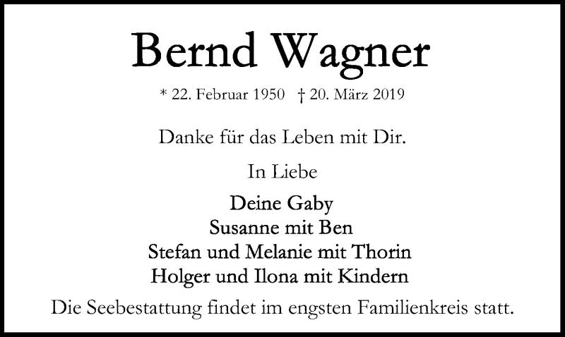 Traueranzeige für Bernd Wagner vom 31.03.2019 aus Lübecker Nachrichten