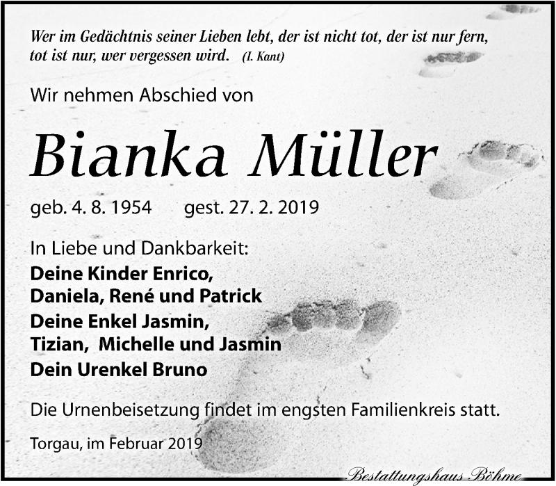 Traueranzeige für Bianka Müller vom 09.03.2019 aus Torgauer Zeitung