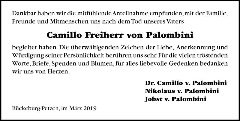 Traueranzeige für Cainillo Freiherr von Paloinbini vom 09.03.2019 aus Schaumburger Nachrichten