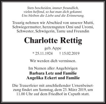 Traueranzeige für Charlotte Rettig vom 02.03.2019 aus Märkischen Allgemeine Zeitung