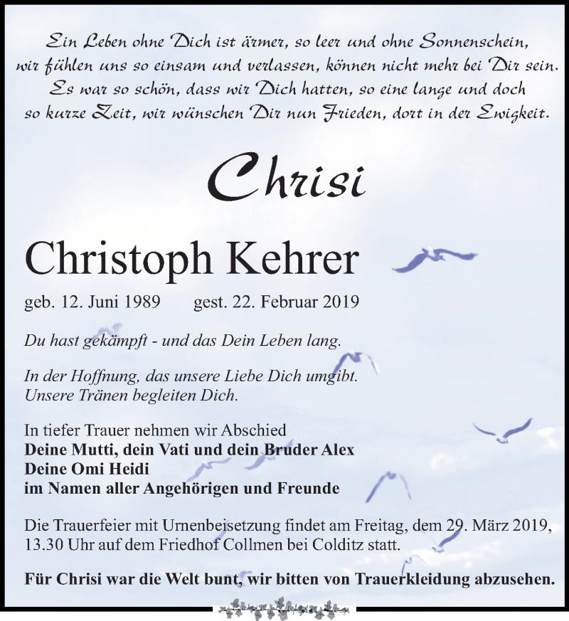 Traueranzeige für Christoph Kehrer vom 09.03.2019 aus Leipziger Volkszeitung