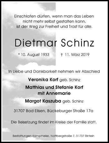 Traueranzeige für Dietmar Schinz vom 16.03.2019 aus Schaumburger Nachrichten