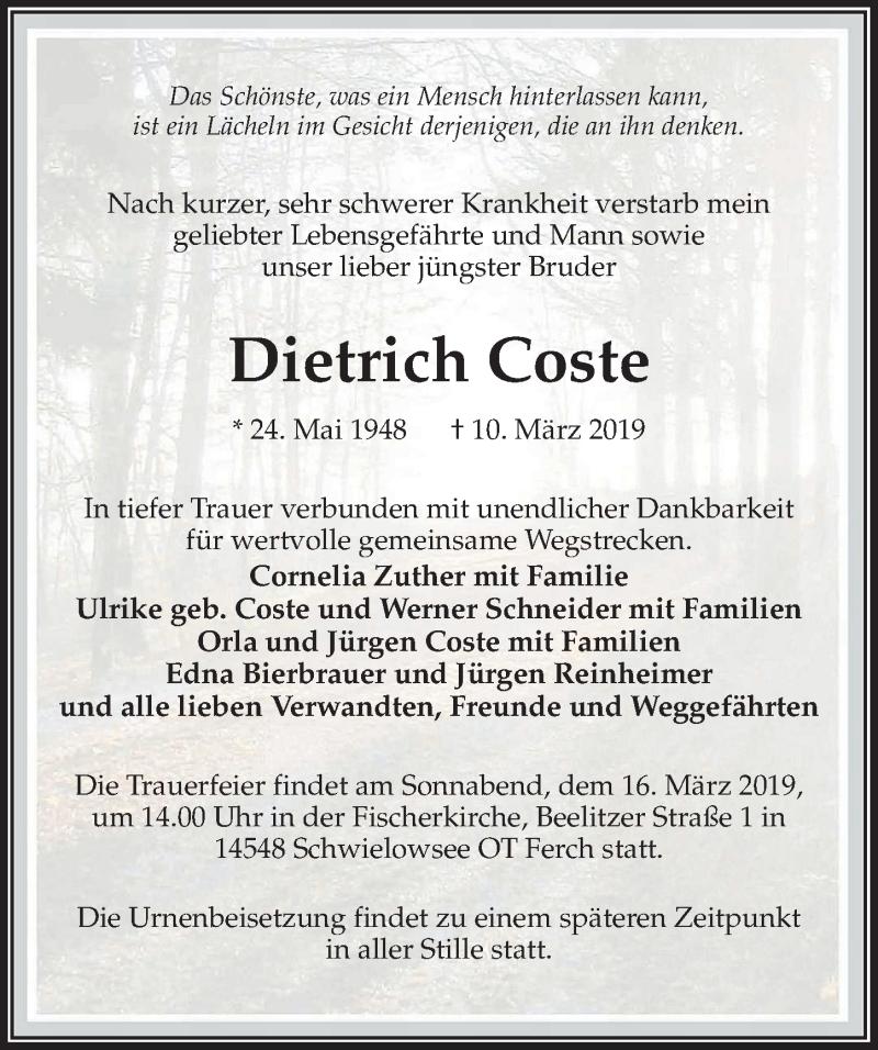 Traueranzeige für Dietrich Coste vom 13.03.2019 aus Märkischen Allgemeine Zeitung