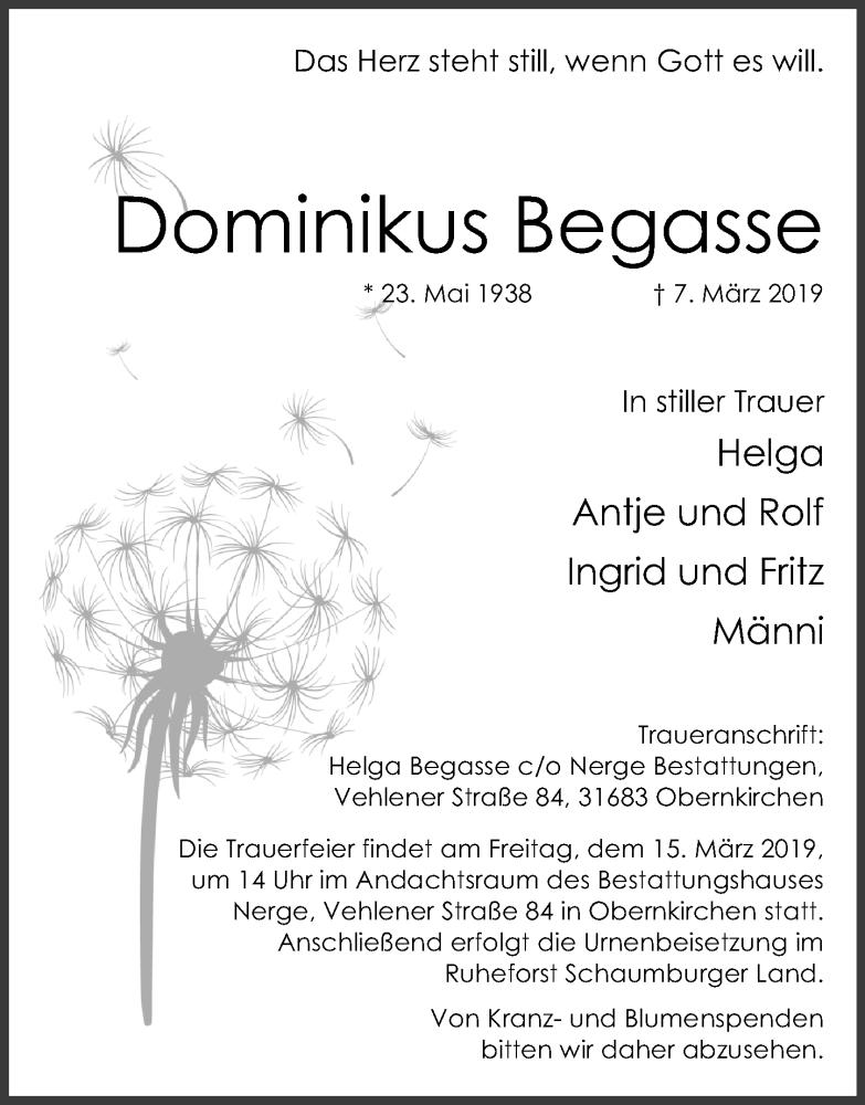 Traueranzeige für Dominikus Begasse vom 09.03.2019 aus Schaumburger Nachrichten