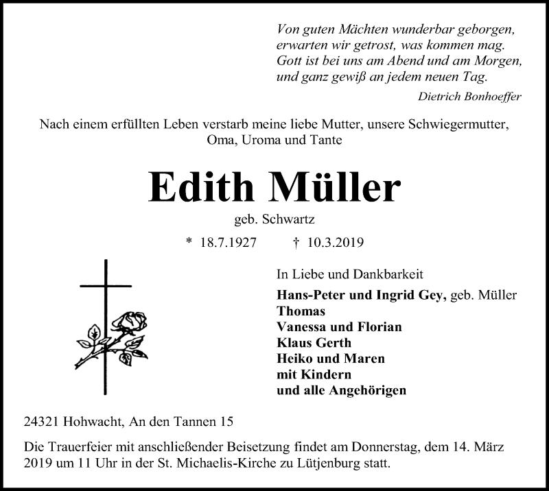 Traueranzeige für Edith Müller vom 13.03.2019 aus Kieler Nachrichten