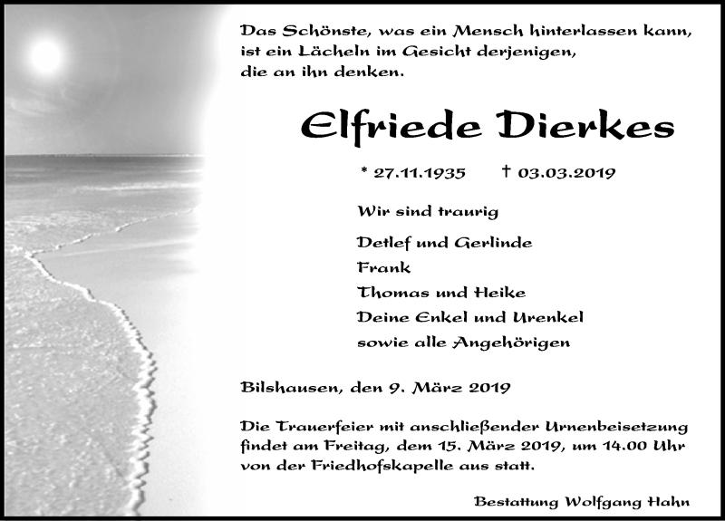 Traueranzeige für Elfriede Dierkes vom 09.03.2019 aus Eichsfelder Tageblatt