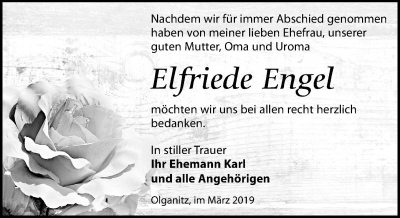 Traueranzeige für Elfriede Engel vom 30.03.2019 aus Leipziger Volkszeitung