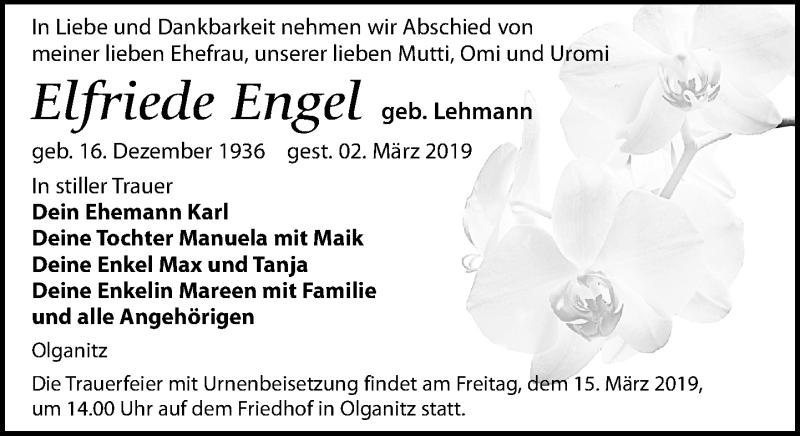 Traueranzeige für Elfriede Engel vom 09.03.2019 aus Leipziger Volkszeitung