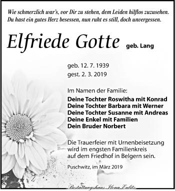 Traueranzeige für Elfriede Gotte vom 09.03.2019 aus Torgauer Zeitung