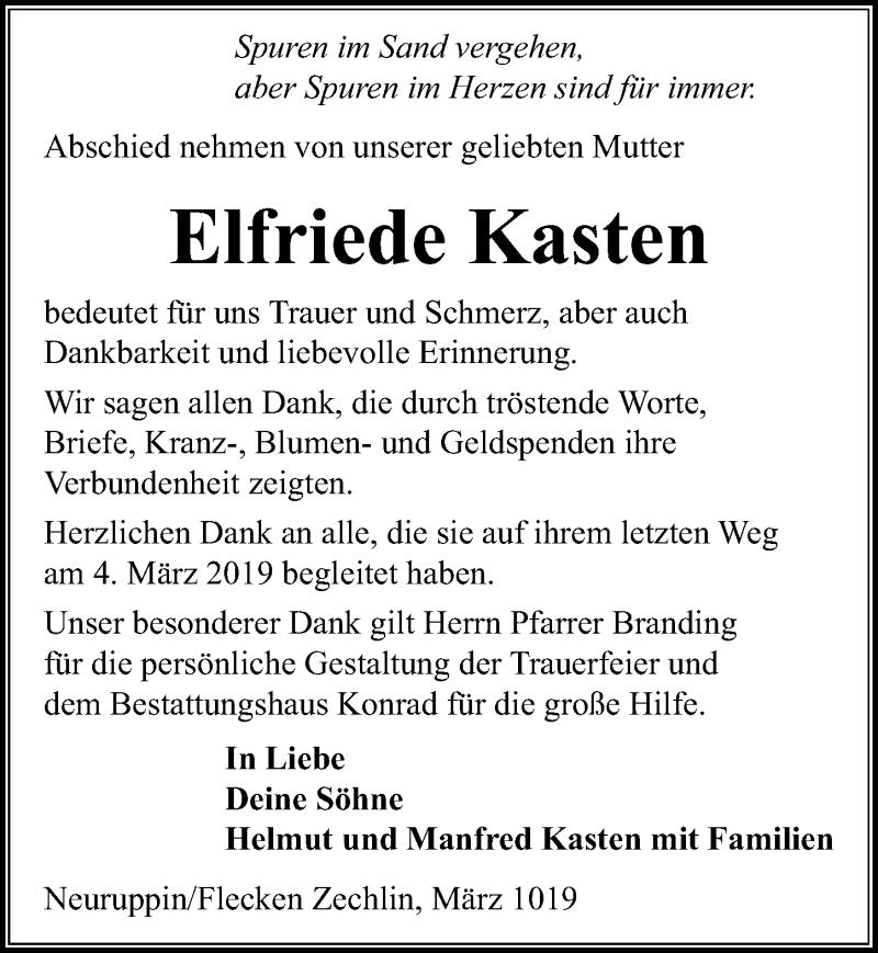 Traueranzeige für Elfriede Kasten vom 08.03.2019 aus Märkischen Allgemeine Zeitung