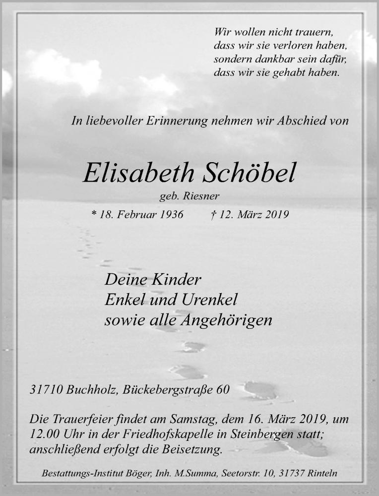 Traueranzeige für Elisabeth Schöbel vom 14.03.2019 aus Schaumburger Nachrichten
