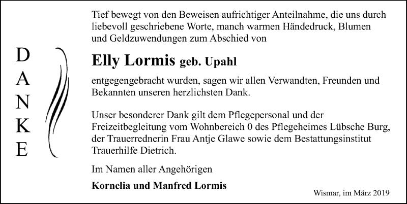 Traueranzeige für Elly Lormis vom 23.03.2019 aus Ostsee-Zeitung GmbH
