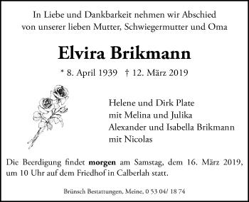 Traueranzeige für Elvira Brikmann vom 15.03.2019 aus Aller Zeitung