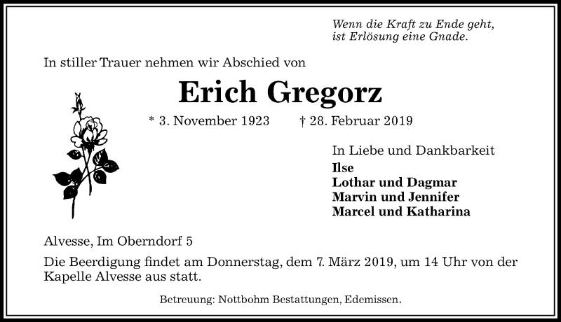 Traueranzeige für Erich Gregorz vom 02.03.2019 aus Peiner Allgemeine Zeitung