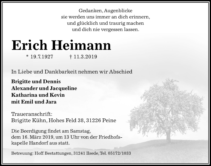 Traueranzeige für Erich Heimann vom 14.03.2019 aus Peiner Allgemeine Zeitung