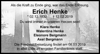 Traueranzeige für Erich Henke vom 02.03.2019 aus Märkischen Allgemeine Zeitung