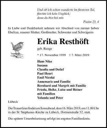 Traueranzeige für Erika Resthöft vom 10.03.2019 aus Lübecker Nachrichten