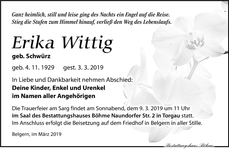 Traueranzeige für Erika Wittig vom 06.03.2019 aus Torgauer Zeitung